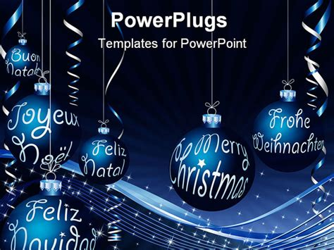 powerpoint template blue balloons hanging with christmas