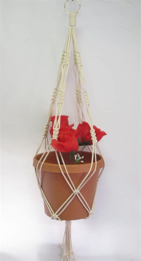 Macrame Cord For Plant Hangers - macrame plant hanger cotton cord vintage style 30 inch beige