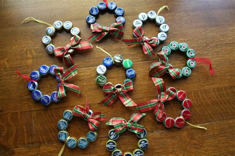 upcycled beer bottle cap christmas ornament diy