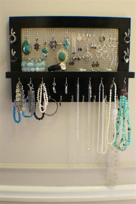 black lacquer wall mounted jewelry organizer wall