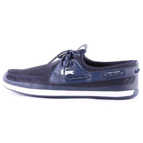lacoste landsailing mens boat shoes in navy