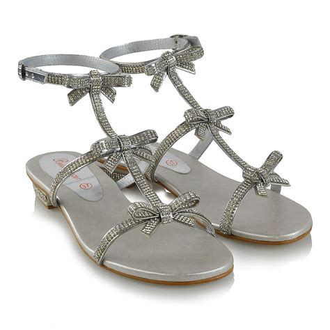 8 Advantages Of Flat Shoes Heels by Womens Flat Strappy Sandals Diamante Sparkly