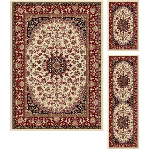 tayse rugs tayse rugs elegance beige 5 ft x 7 ft 3 rug set 5392 ivory 3 pc set the home depot