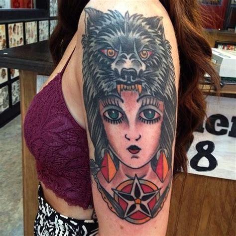 tattoo girl wolf arm wolf girl tattoo for women tattoos pinterest