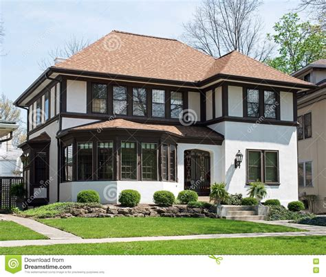 stucco home with brown trim stock photo image