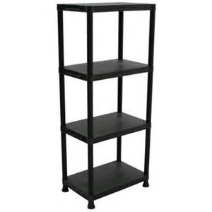 shelving at home depot 4 shelf 14 in d x 22 in w x 52 in h black plastic