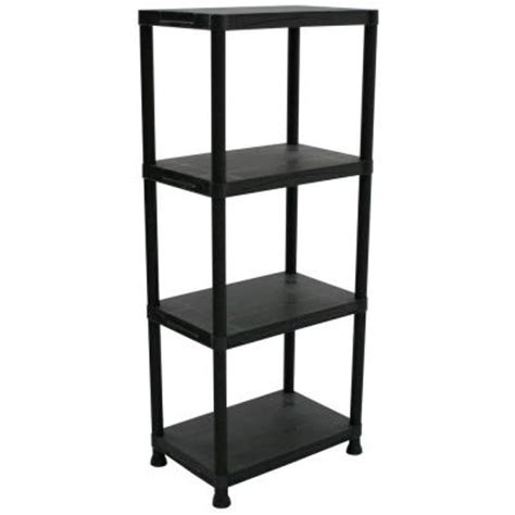 4 shelf 14 in d x 22 in w x 52 in h black plastic