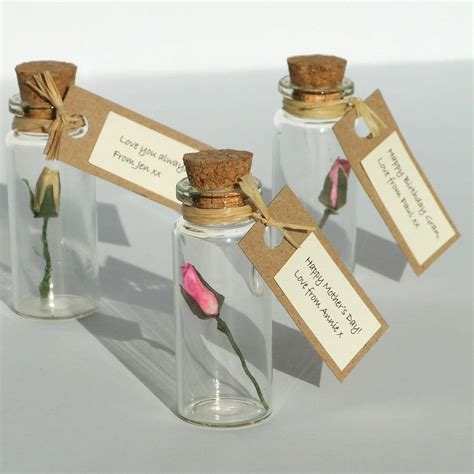 Personalised Handmade Gifts - tiny personalised rosebud in a bottle by re made