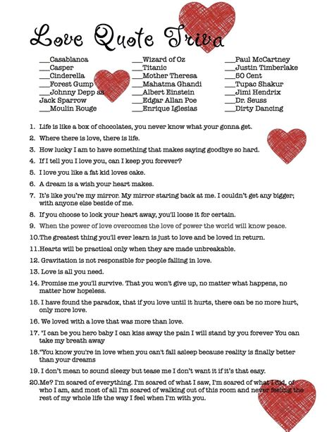 printable love quiz games love quote trivia bridal shower game not your typical