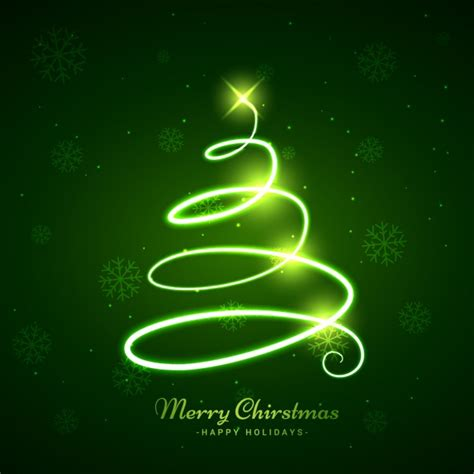 glowing christmas tree in green background vector free