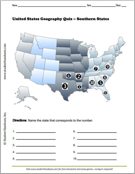 printable us state map quiz southern states printable map quiz free to print pdf