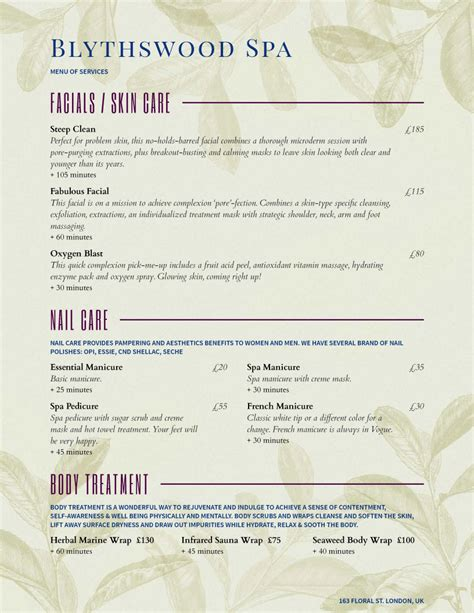 Menu Exle Salon Service Menu Template