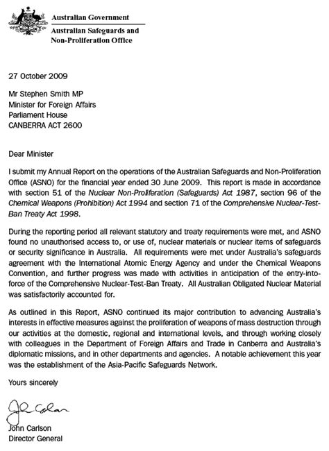 Transmittal Letter Sle For Report dfat annual report 2008 2009 letter of transmittal