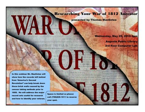 War Of 1812 Records Researching Your War Of 1812 Ancestor Augusta Genealogy
