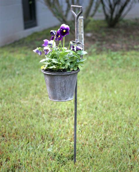Garden Stakes by Spade Planters With Gauges Metal Garden Stakes Set