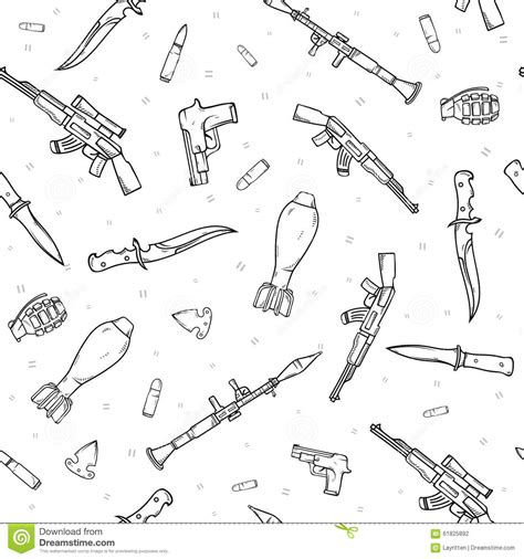 doodle how to make weapon seamless pattern with different weapon scattered by doodle