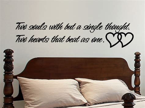 master bedroom wall decor love wall quote decal sticker two souls with but a by