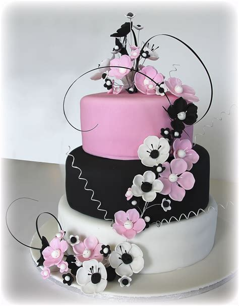 black and pink birthday cake anemone cake in pink black white pink black white