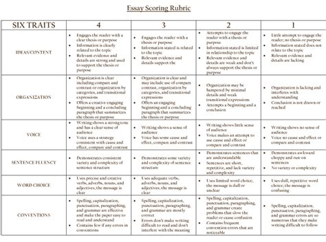 essay grading rubric image search results