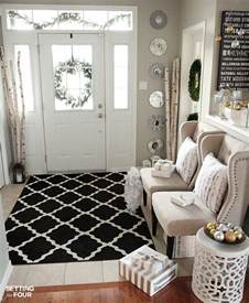 and neutral foyer setting for four
