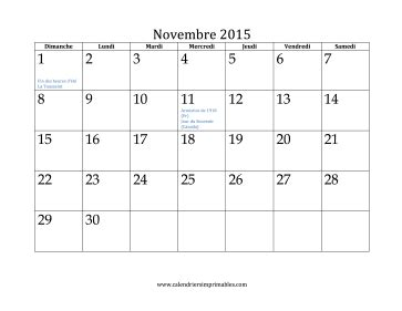 Calendrier Novembre 2015 Calendrier Pour Novembre 2015
