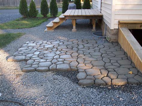diy massive concrete cobblestone patio diy barrel stove