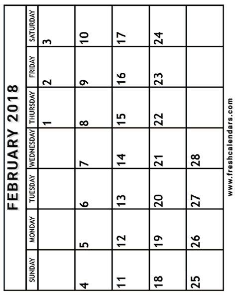 blank february calendar printable templates