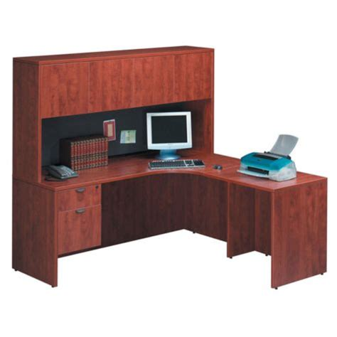 Desk With Return And Hutch Cherry L Desk With Right Return And Hutch Officefurniture