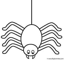 Printable Spider Coloring Pages spider on a thread coloring page