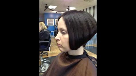hair makeover long to graduated bob haircut youtube