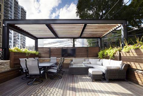 steel shade structure chicago roof deck garden