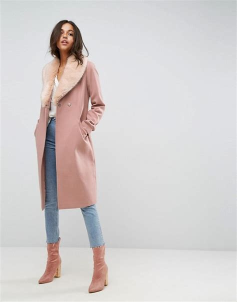 Plaid Fourrure 513 by Asos Midi Skater Coat With Luxe Faux Fur Trim Mod And