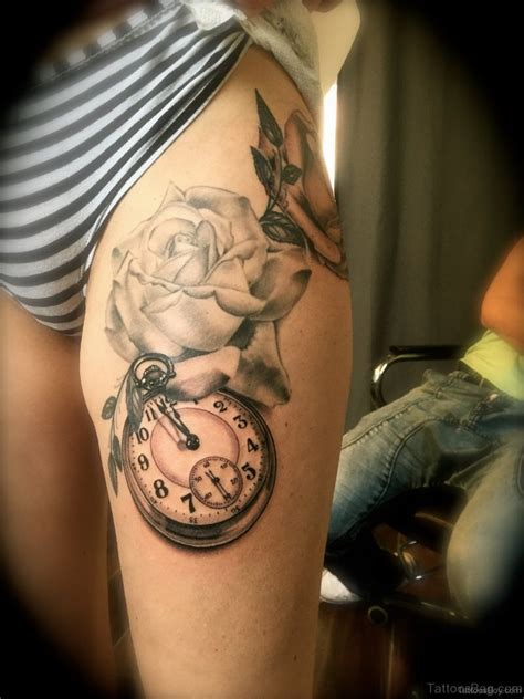 rose and clock tattoo designs 50 top class clock tattoos on thigh