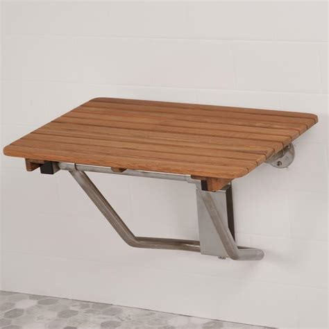 heavy duty teak shower bench 24 quot wide teak ada wall mount shower seat teakworks4u
