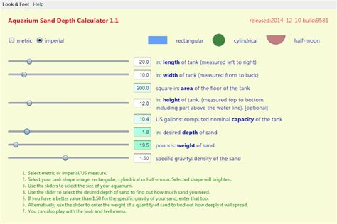 Sand Calculator Aquarium Sand Depth Calculator 1 1 Sanddepth