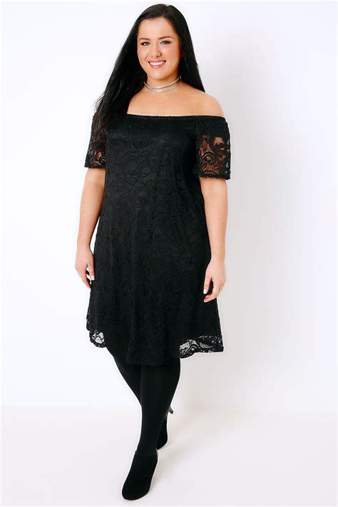 black lace swing dress black lace bardot swing dress plus size 16 18 20 22 24 26