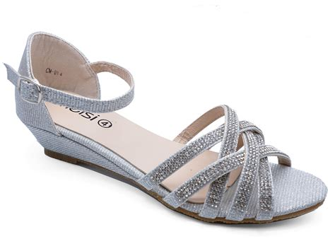 Silver Bridal Wedge Shoes by Silver Wedding Bridal Bridesmaid Diamante Wedge
