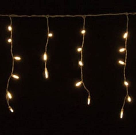 led icicle lights warm white 70 bulbs white wire yard