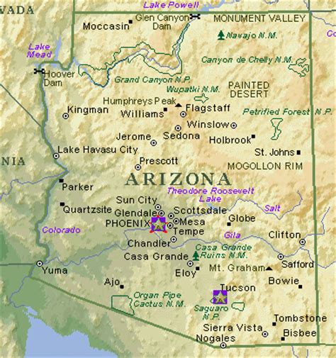 map of arizona cities and towns arizona