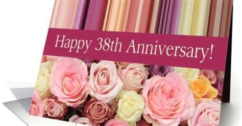 38th Wedding Anniversary Card   Pastel roses and stripes