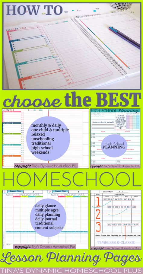 how to choose the best homeschool lesson planning pages