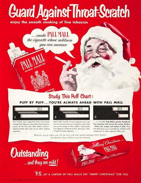 christmas gift advertisement 1951 ad paul mall cigarettes santa claus gift box tobacco smoke vintage santa