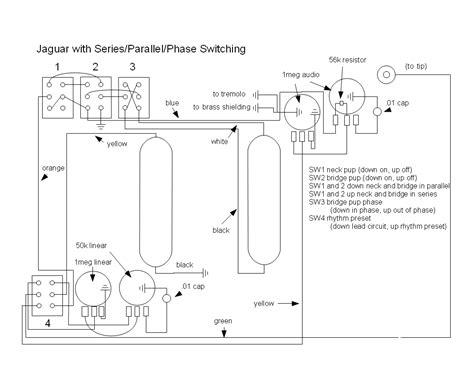 wrench fender jaguar rewiring  series parallel  phase switching