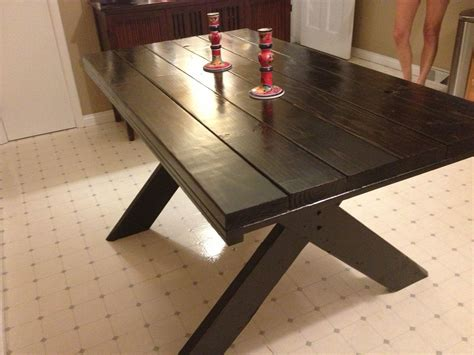 made 2 tone farm table with picnic style legs by last