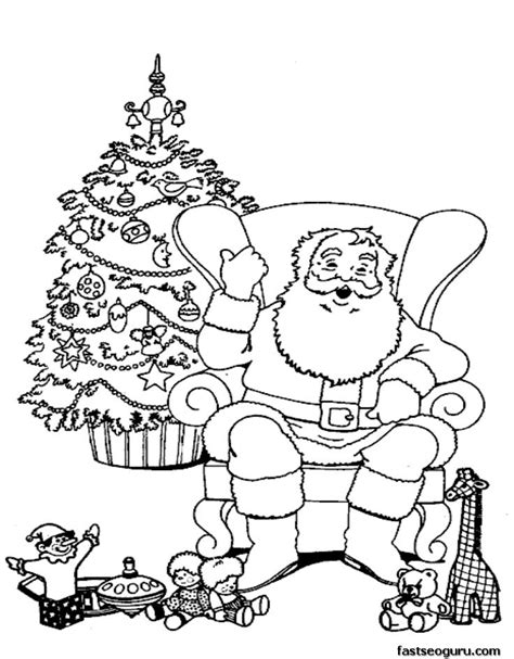 Santa Claus Relaxing In Chair Coloring Pages Printable Coloring Pages Relaxing