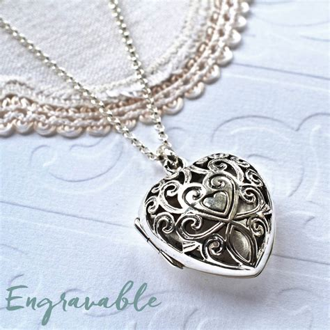 silver vintage locket necklace by martha jackson