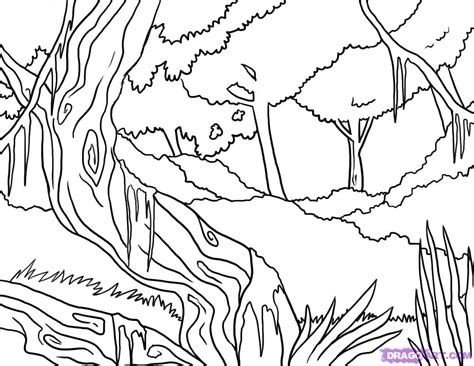 jungle landscape coloring pages how to draw a jungle step by step landscapes landmarks