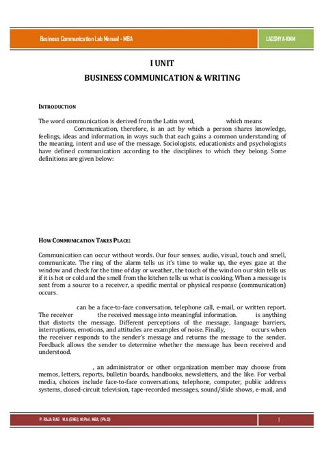 Mba Buisness Communication by Business Communication Lab Manual For Mba By Raja Rao