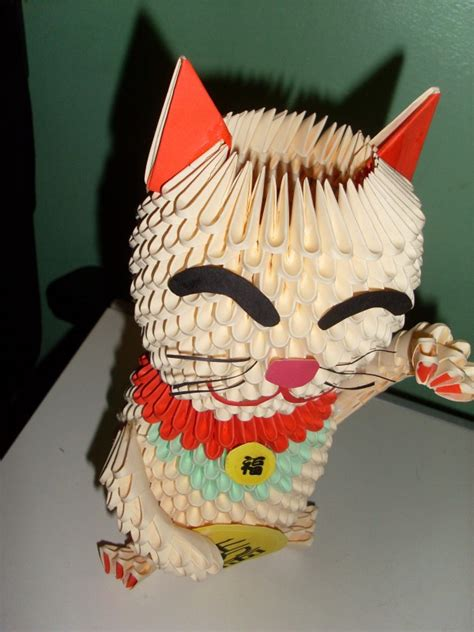 How To Make A 3d Origami Cat - 3d origami maneki ne album skong 3d origami