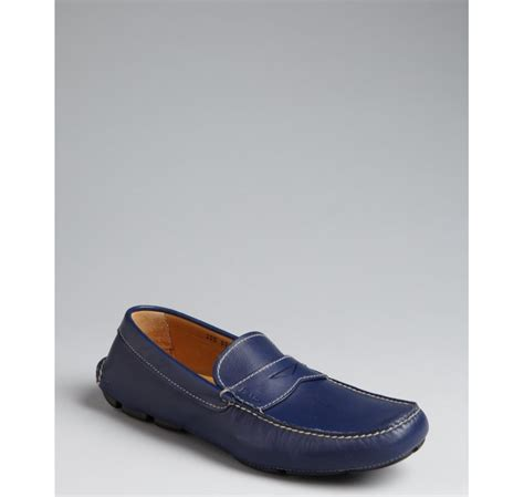 royal blue loafers for prada royal blue leather loafers in blue for